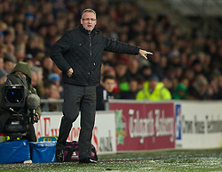CARDIFF, WALES - Tuesday, February 11, 2014: Aston Villa's manager Paul Lambert during the Premiership match against Cardiff City at the Cardiff City Stadium. (Pic by David Rawcliffe/Propaganda)