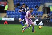 Cardiff City midfielder Anthony Pilkington and Reading midfielder Alex Fernandez during the Sky Bet Championship match between Cardiff City and Reading at the Cardiff City Stadium, Cardiff, Wales on 7 November 2015. Photo by Jemma Phillips.