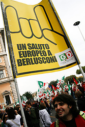 Rome/Italy oct 25 2008 - Demostration of PD (democratic party) against italian Government of Silvio Berlusconi.