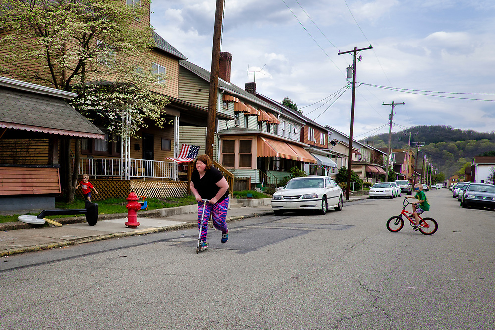 Children play in the neighborhood streets of Natrona, Pa., Originally known as East Tarentum, Natrona was built as a company town by the Pennsylvania Salt Manufacturing Company in the 1850s