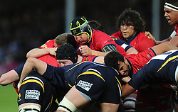 Bristol Rugby Lock Mark Sorenson drives his team forward  - Photo mandatory by-line: Joe Meredith/JMP - Mobile: 07966 386802 - 27/05/2015 - SPORT - Rugby - Worcester - Sixways Stadium - Worcester Warriors v Bristol Rugby - Greene King IPA Championship