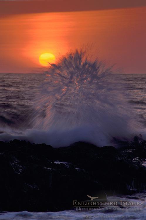 Ocean waves crashing on rocks at sunset, Bean Hollow State Beach, San Mateo Coast, California