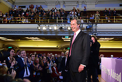 UKIP Leader Nigel Farage looks at the audience after his Keynote Speech at UKIP's annual conference, Central Hall, Westminster, London, United Kingdom. Friday, 20th September 2013. Picture by Nils Jorgensen/ i-Images