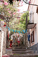 Shops in the tiny alleyways in the village of Molivos, Lesbos Island, Greece