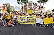 Roma, 18 Settembre 2015<br /> Manifestazione di lavoratori Ikea, davanti all'ambasciata svedese<br /> Lavoratori Ikea protestano contro la riduzione dei salari da Ikea. Lo striscione con la foto di Ingvar Kamprad proprietario di Ikea.<br /> Rome, 18 September 2015<br /> Demonstration of workers Ikea, infront the Swedish embassy <br /> Ikea workers protest against the lowering of wages by Ikea. The banner with  picture Ingvar Kamprad of Ikea owner.
