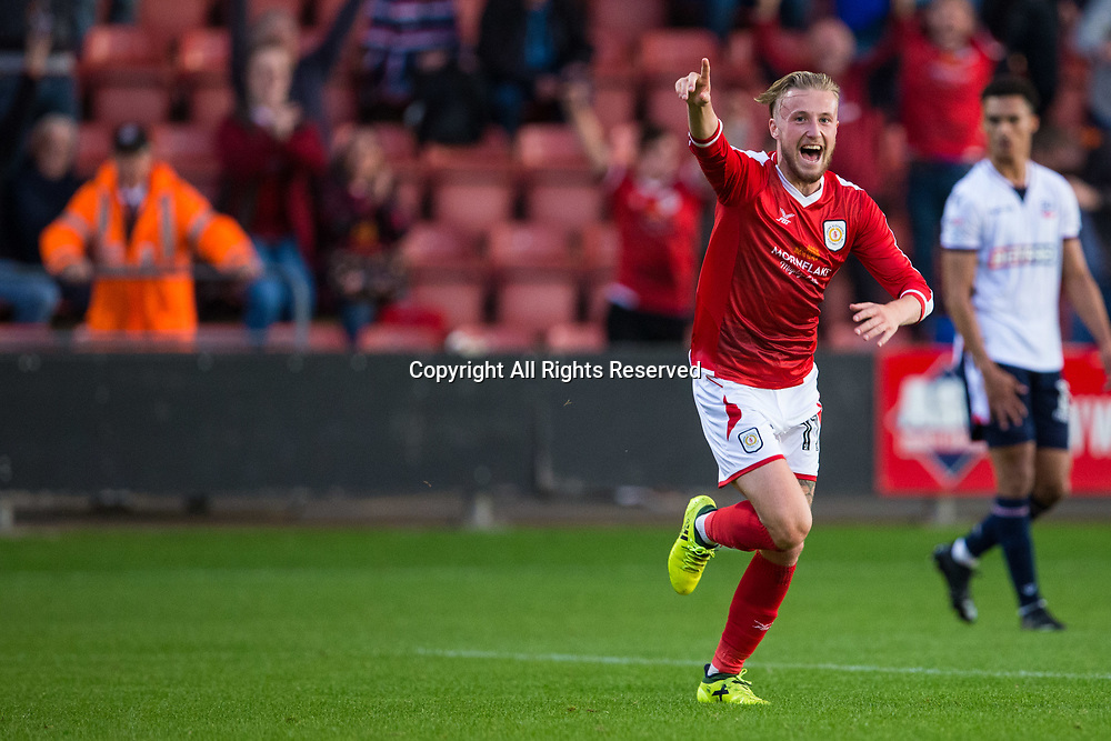 August 9th 2017, Gresty Road, Crewe, England; Carabao Cup First Round; Crewe Alexandra versus Bolton; Crewe Alexandra's George Cooper celebrates a Crewe goal