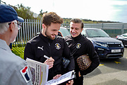 Luton Town midfielder Andrew Shinnie (11) and Luton Town forward Jason Cummings (23) arrive ahead of the EFL Sky Bet League 1 match between Luton Town and Doncaster Rovers at Kenilworth Road, Luton, England on 23 March 2019.