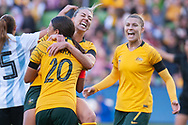 MELBOURNE, VIC - MARCH 06: Alanna Kennedy (14) of Australia celebrates after scoring a goal during The Cup of Nations womens soccer match between Australia and Argentina on March 06, 2019 at AAMI Park, VIC. (Photo by Speed Media/Icon Sportswire)