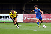 AFC Wimbledon striker Egli Kaja (21) with a shot on goal during the Pre-Season Friendly match between AFC Wimbledon and Burton Albion at the Cherry Red Records Stadium, Kingston, England on 21 July 2017. Photo by Matthew Redman.