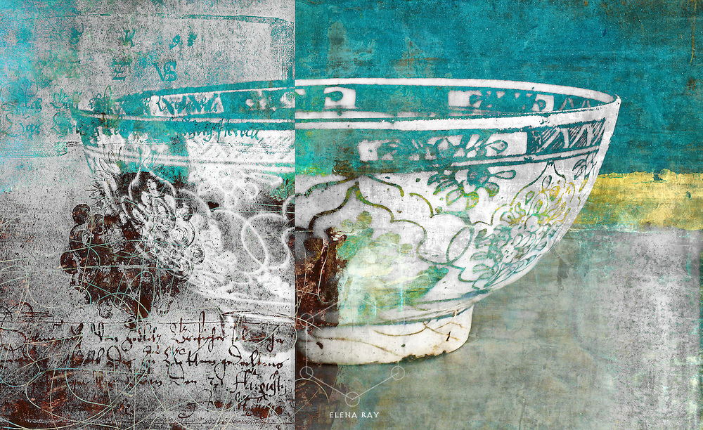 Antique bowl and calligraphy.