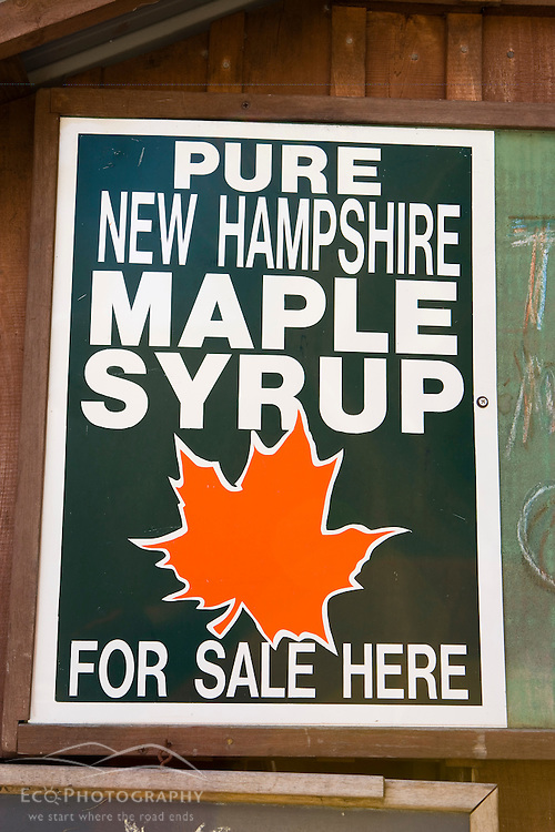 Maple Syrup sign at the Sunday Mountain Maple Farm in Orford, New Hampshire.