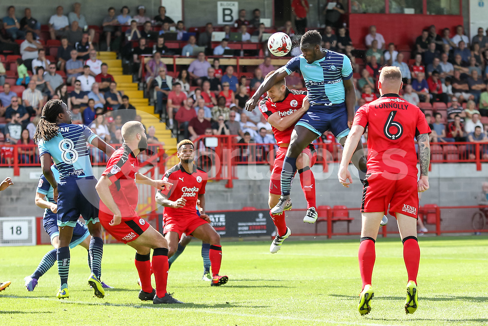 Aaron Pierre of Wycombe Wanderers has a header on goal during the EFL Sky Bet League 2 match between Crawley Town and Wycombe Wanderers at the Checkatrade.com Stadium, Crawley, England on 6 August 2016. Photo by Ken Sparks.