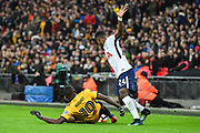 Tottenham Hotspur Defender Serge Aurier (24) and Newport County Forward Frank Nouble (10) battle for the ball during the The FA Cup 4th round replay match between Tottenham Hotspur and Newport County at Wembley Stadium, London, England on 7 February 2018. Picture by Stephen Wright.