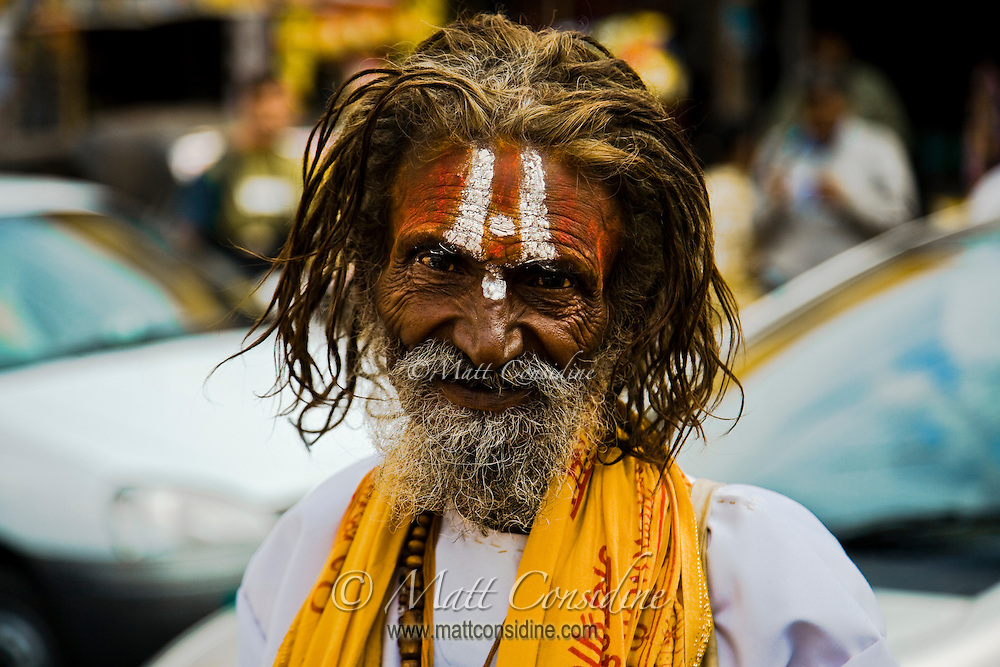 Vaishnava ascetic with tilak on his forehead - two vertical lines, with dot in the center signifies that he is devotee of god Shiva.<br /> (Photo by Matt Considine - Images of Asia Collection)