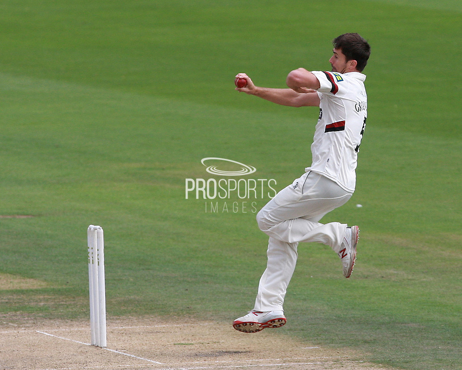 Tim Groenewald bowls for Somerset during the LV County Championship Div 1 match between Sussex County Cricket Club and Somerset County Cricket Club at the BrightonandHoveJobs.com County Ground, Hove, United Kingdom on 14 September 2015. Photo by Bennett Dean.