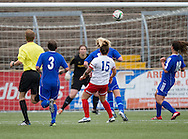 Spartans' Louise Mason (15) fires home the only goal of the match  - Forfar Farmington v Spartans in the Scottish Womens Premier League at Station Park, Forfar. Photo: David Young<br /> <br />  - &copy; David Young - www.davidyoungphoto.co.uk - email: davidyoungphoto@gmail.com