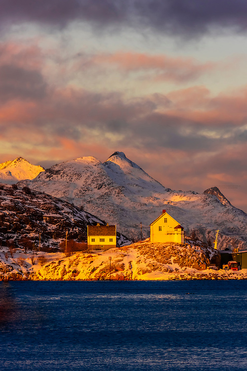 Houses along the harbor. Bodo, Arctic Northern Norway.