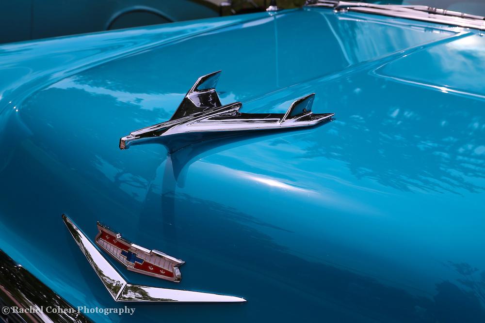 &quot;1956 Chevrolet Hood Ornament&quot;<br /> <br /> Pure automobile beauty in blue with a super classic Chevrolet hood ornament!!<br /> <br /> Cars and their Details by Rachel Cohen