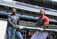 CHICAGO - MAY 27:  Cuban outfielder Luis Robert and first baseman Jose Abreu #79 of the Chicago White Sox look on prior to the game against the Detroit Tigers on May 27, 2017 at Guaranteed Rate Field in Chicago, Illinois.  Robert, 19, has played the last four seasons (2013-16) for Ciego de Ávila in the Cuban Serie Nacional (Cuban National Series), Cuba's top-level league. The 6-foot-2, 210-pound Robert made his debut with the team in 2013 at age 16. Robert played for Cuba's U-18 National Team from 2014-2015, making appearances at the World Cup (2015) and Pan American Games (2014). He was teammates with White Sox and baseball's No. 1 overall prospect Yoán Moncada in 2014. Robert also played for Cuba's U-15 National Team in 2012.Robert played for Cuba's U-18 National Team from 2014-2015, making appearances at the World Cup (2015) and Pan American Games (2014). He was teammates with White Sox and baseball's No. 1 overall prospect Yoán Moncada in 2014. Robert also played for Cuba's U-15 National Team in 2012.  (Photo by Ron Vesely/).  Subject:Luis Robert; Jose Abreu