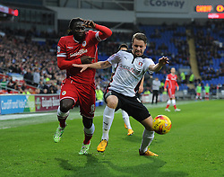 Rotherham's Kari Árnason shields the ball from Cardiff City's Kenwyne Jones - Photo mandatory by-line: Alex James/JMP - Mobile: 07966 386802 - 06/12/2014 - SPORT - Football - Cardiff - Cardiff City Stadium  - Cardiff City v Rotherham United  - Football