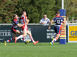 Harry Robinson of Gloucester United scores against Bristol United - Mandatory by-line: Paul Knight/JMP - 02/10/2016 - RUGBY - Hyde Park - Taunton, England - Bristol United v Gloucester United - Aviva A League