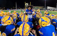 Grant High School Pacer's David Moala (8), fires up his team before the game as they face St. Mary's High School in the SAC-Joaquin Section Division II Championship game at Sacramento State, Friday December 5, 2014.<br /> Brian Baer/Special to the Bee