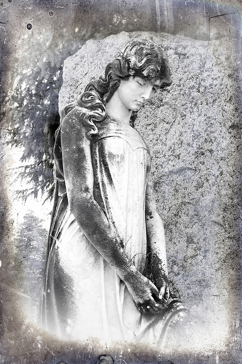 Porcelain&nbsp;is a life-sized statue of a young girl in a very rural cemetery in New York. Who is she? Is this a likeness of the deceased in this plot? That is unknown. <br /> <br /> This is a very well done sculpture that is enhanced by the dark century-old weathering and staining that particularly accents the hair. There is much flowing detail in the curls and folds of her gown, testament to the sculptor's skill and talent. <br /> <br /> The image was shot in color then converted to black and white; it seemed to call for it. I then &quot;antiqued&quot; the image by adding a special digital weathered overlay that gives the look of an aged glass plate negative done in the Civil War era. Specifically, I was trying to recreate what's known as an ambrotype from that time, but through entirely modern digital means. She's beautiful and the antiquing project came out well.