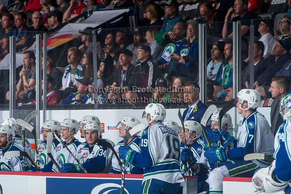 REGINA, SK - MAY 19: Head coach Manny Viveiros of Swift Current Broncos stands on the bench against the Acadie-Bathurst Titan at the Brandt Centre on May 19, 2018 in Regina, Canada. (Photo by Marissa Baecker/CHL Images)