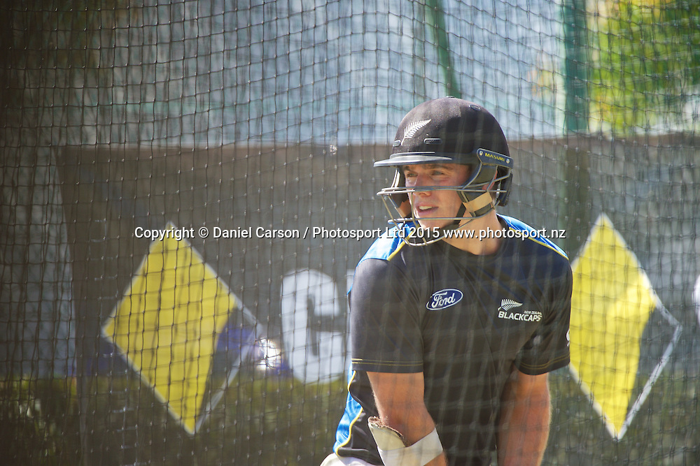 Tom Latham practices batting during the training session on the 12th of November 2015. The New Zealand Black Caps tour of Australia, 2nd test at the WACA ground in Perth, 13 - 17th of November 2015.   Photo: Daniel Carson / www.photosport.nz