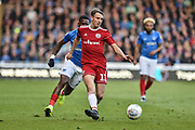 Accrington Stanley Midfielder, Sean McConville (11) goal scorer passes the ball during the EFL Sky Bet League 1 match between Portsmouth and Accrington Stanley at Fratton Park, Portsmouth, England on 4 May 2019.