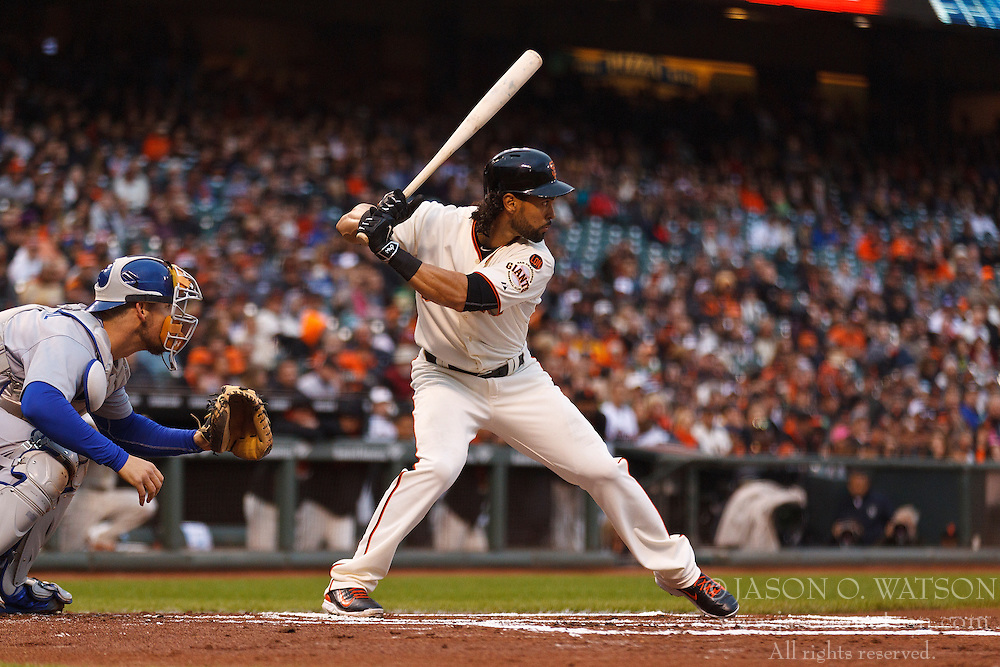SAN FRANCISCO, CA - MAY 20:  Angel Pagan #16 of the San Francisco Giants at bat against the Los Angeles Dodgers during the first inning at AT&T Park on May 20, 2015 in San Francisco, California.  The San Francisco Giants defeated the Los Angeles Dodgers 4-0. (Photo by Jason O. Watson/Getty Images) *** Local Caption *** Angel Pagan