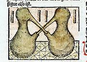 Distillation 1500.  Distilling using double pelicans. From ' Liber de arte distillandi de simplicibus' by Hieronmus Braunschweig. (Strasbourg, 1500).