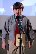 Noel Corby of St. John The Evangelist School introduces himself during the Southeastern Ohio Regional Spelling Bee Regional Saturday, March 16, 2013. The Regional Spelling Bee was sponsored by Ohio University's Scripps College of Communication and held in Margaret M. Walter Hall on OU's main campus.