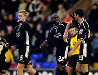 Photo: Jed Wee.<br />Tranmere Rovers v Swansea City. Coca Cola League 1.<br />26/11/2005.<br />Swansea's Ezomo Iriekpen (C) and Owain Tudur Jones (R) celebrate their first goal.
