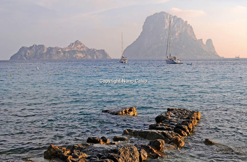 View of Es Vedra from Cala d¥Hort beach, Ibiza