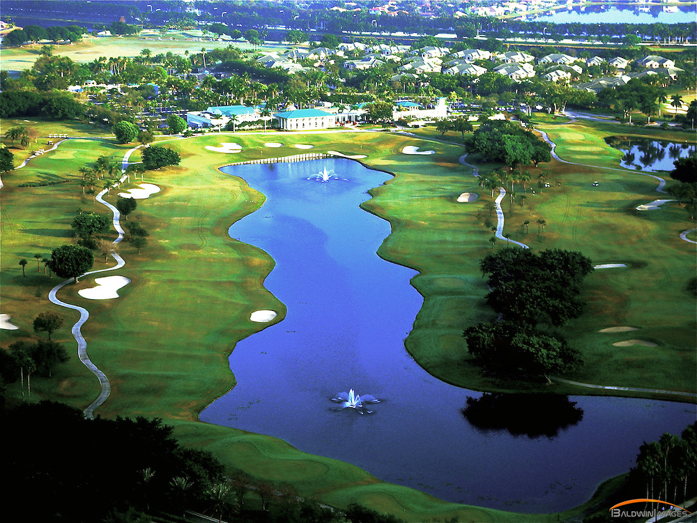 Aerial view of the Club House at Weston Hills Country Club, Weston, Florida