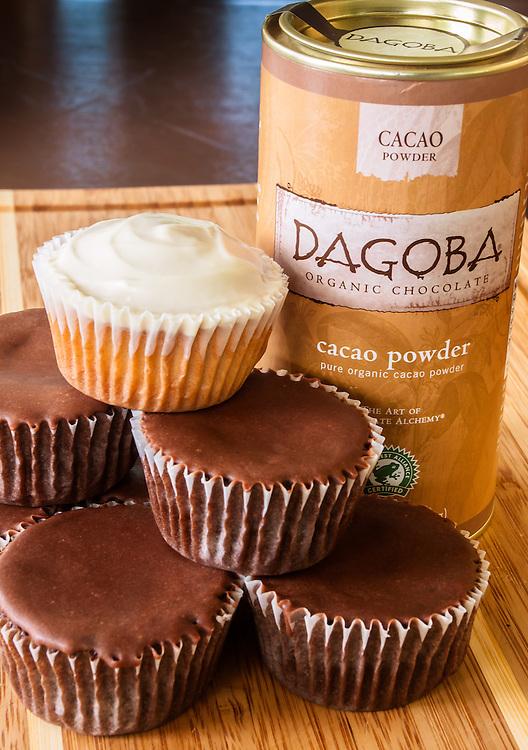 Dagoba Chocolate Cupcake plus a white cake cupcake