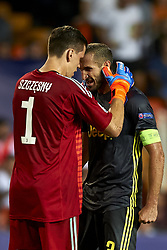 September 19, 2018 - Valencia, Spain - Wojciech Szczesny, Giorgio Chiellini celebrates victory after the Group H match of the UEFA Champions League between Valencia CF and Juventus at Mestalla Stadium on September 19, 2018 in Valencia, Spain. (Credit Image: © Jose Breton/NurPhoto/ZUMA Press)