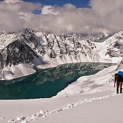 Landscape of the Ala Kol lake, Karakol valley, Kyrgyzstan.