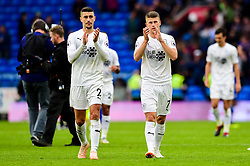 Matthew Lowton of Burnley and Johann Gudmundsson of Burnley after the final whistle of the match  - Mandatory by-line: Ryan Hiscott/JMP - 30/09/2018 -  FOOTBALL - Cardiff City Stadium - Cardiff, Wales -  Cardiff City v Burnley - Premier League