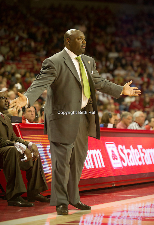 Dec 30, 2011; Fayetteville, AR, USA; Texas Southern Tigers head coach Tony B. Harvey reacts to a call during a game against the Arkansas Razorbacks at Bud Walton Arena. Arkansas defeated Texas Southern 77-49. Mandatory Credit: Beth Hall-US PRESSWIRE