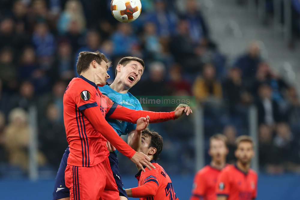 September 28, 2017 - Saint Petersburg, Russia - Diego Llorente of FC Real Sociedad (L) and Daler Kuzyaev of FC Zenit Saint Petersburg vie for the ball during the UEFA Europa League Group L football match between FC Zenit Saint Petersburg and FC Real Sociedad at Saint Petersburg Stadium on September 28, 2017 in St.Petersburg, Russia. (Credit Image: © Igor Russak/NurPhoto via ZUMA Press)