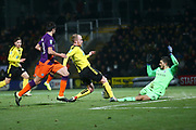 Burton Albion forward Liam Boyce (27) has shot saved by Manchester City's goalkeeper Aro Muric (49) during the EFL Cup semi final second leg match between Burton Albion and Manchester City at the Pirelli Stadium, Burton upon Trent, England on 23 January 2019.