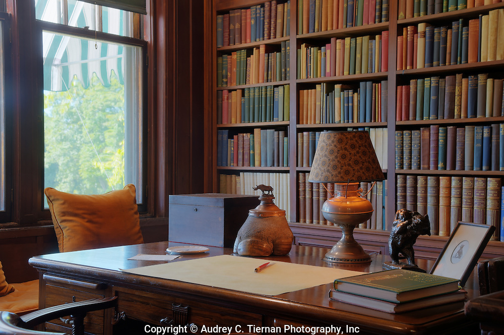 Oyster Bay, NY,  September 14, 2015: ---   Sagamore Hill was the home of the 26th president of the United States, Theodore Roosevelt. The home recently underwent a ten million dollar renovation.  This is Theodore Roosevelt's desk in The North Room where he often used to read and write as he gazed out the window. © Audrey C. Tiernan