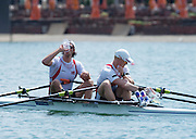 Belgrade, SERBIA,  NOR M2X JAKOB Nils HOFF and Kjetil BORCH, at the start of the heat. 2014 FISA European Rowing Championships. Lake Sava. <br /> <br /> <br /> 10:57:51  Friday  30/05/2014<br /> <br /> [Mandatory Credit; Peter Spurrier/Intersport-images]