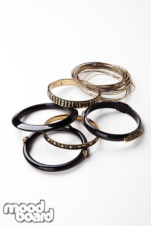 Set of traditional bangles over white background
