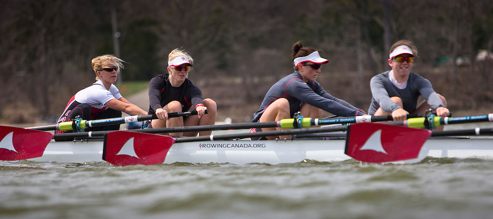 Cristy Nurse member of the 2016 Canadian Olympic Rowing Team in the women's eight trains at Lake Fanshawe in London, Ontario Canada on April 25th, 2016