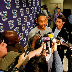 December 17, 2011; New Orleans, LA, USA; New Orleans Hornets guard Eric Gordon during a press conference to introduce players acquired from the Los Angeles Clippers in the Chris Paul trade prior to team scrimmage at the New Orleans Arena.   Mandatory Credit: Derick E. Hingle-US PRESSWIRE