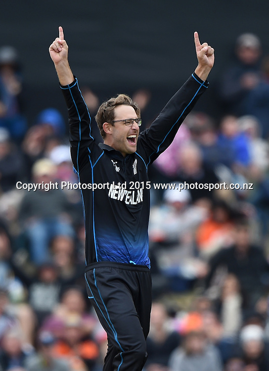 Daniel Vettori celebrates the dismissal of Jayawardene during the ICC Cricket World Cup match between New Zealand and Sri Lanka at Hagley Oval in Christchurch, New Zealand. Saturday 14 February 2015. Copyright Photo: Andrew Cornaga / www.Photosport.co.nz