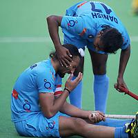 MELBOURNE - Champions Trophy men 2012<br /> India v Austalia <br /> foto: Sardar Singh injured.<br /> FFU PRESS AGENCY COPYRIGHT FRANK UIJLENBROEK